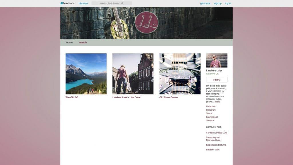 Lawless Luke Bandcamp website page, Delta Blues Slide Guitar player & composer