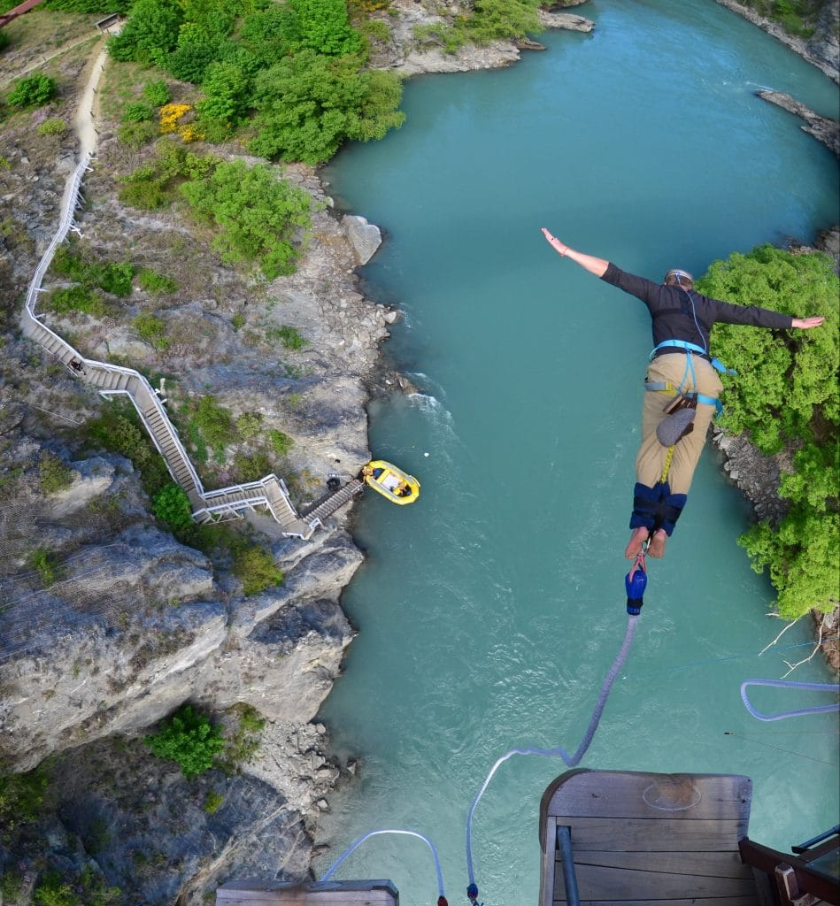 Lawless Luke Bungee Jumping in Queenstown, New Zealand, Delta Blues Slide Guitar Player and composer from Coventry, West Midlands, UK