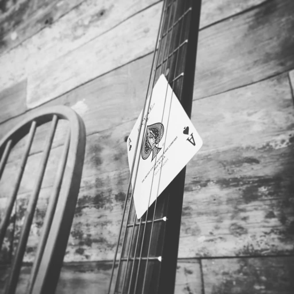 """Lawless Luke """"The Black Ace"""" Cigar Box guitar 'The Black Ace' playing card, Delta Blues Slide Guitar player & composer, from Coventry, West Midlands, UK"""