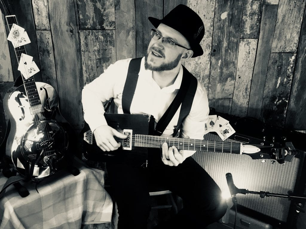 "Lawless Luke ""The Black Ace"" Movie still B&W, Delta Blues Slide Guitar player & composer, from Coventry, West Midlands, UK"