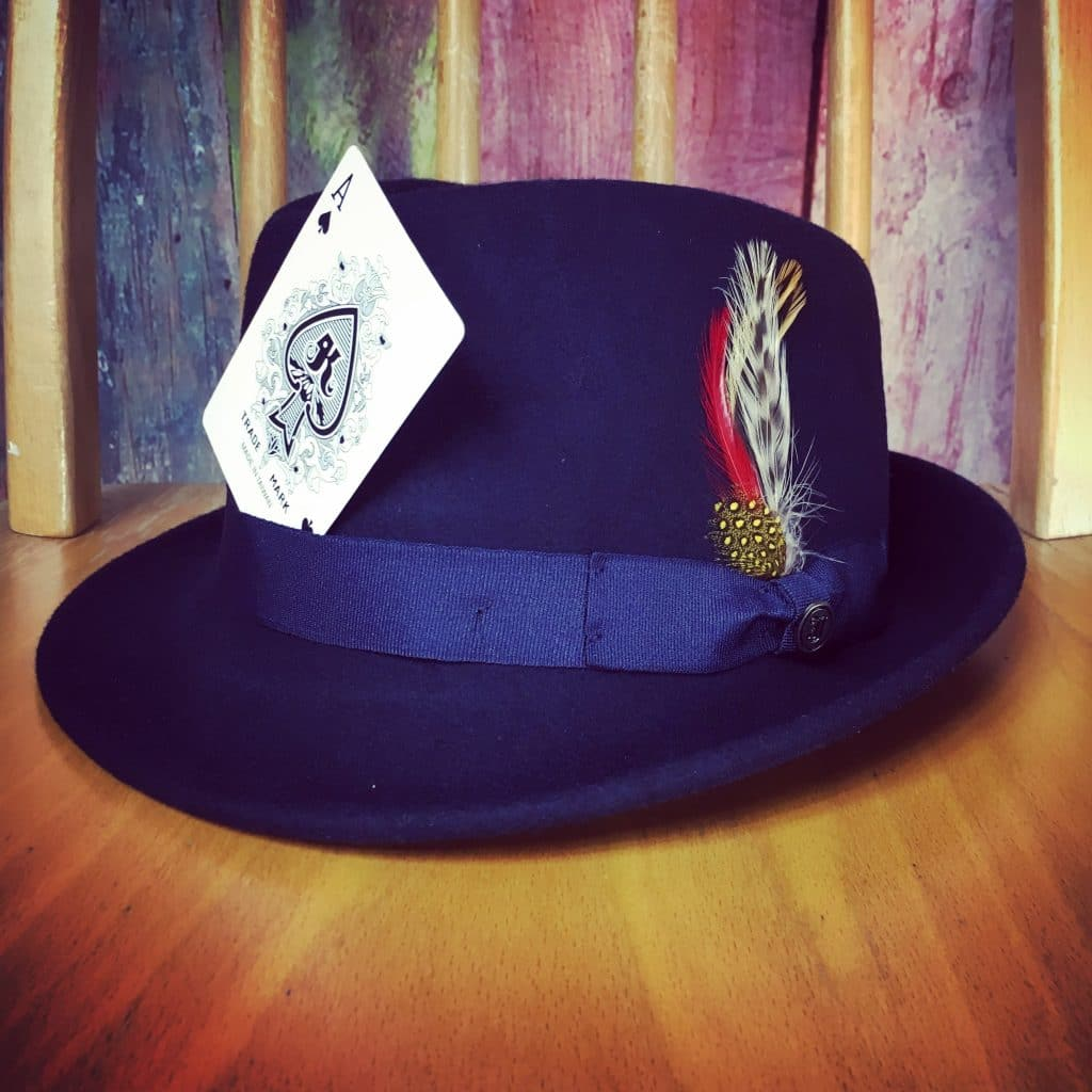 "Lawless Luke Detroit hat with ""The Black Ace Card"", Delta Blues Slide Guitar player & composer, from Coventry, West Midlands, UK"